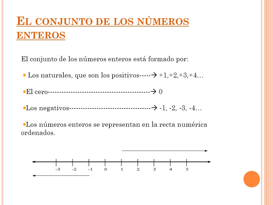 E L CONJUNTO DE LOS NÚMEROS ENTEROS El conjunto de los números enteros está formado por: Los naturales, que son los positivos----- +1,+2,+3,+4… El cer