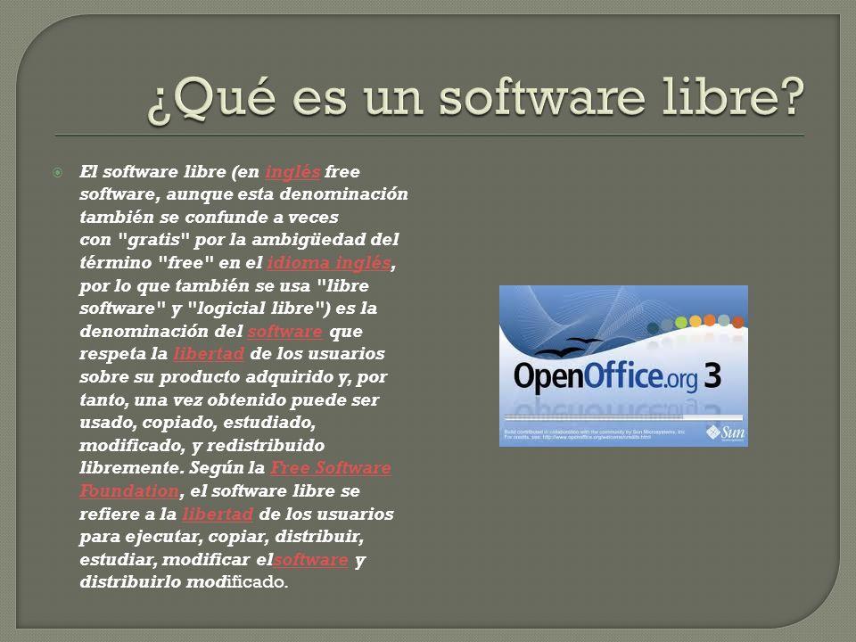 El software libre (en inglés free software, aunque esta denominación también se confunde a veces con