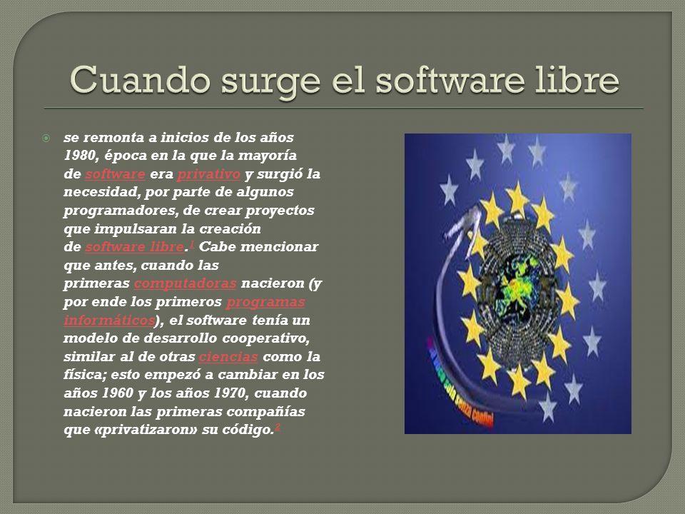 se remonta a inicios de los años 1980, época en la que la mayoría de software era privativo y surgió la necesidad, por parte de algunos programadores, de crear proyectos que impulsaran la creación de software libre.