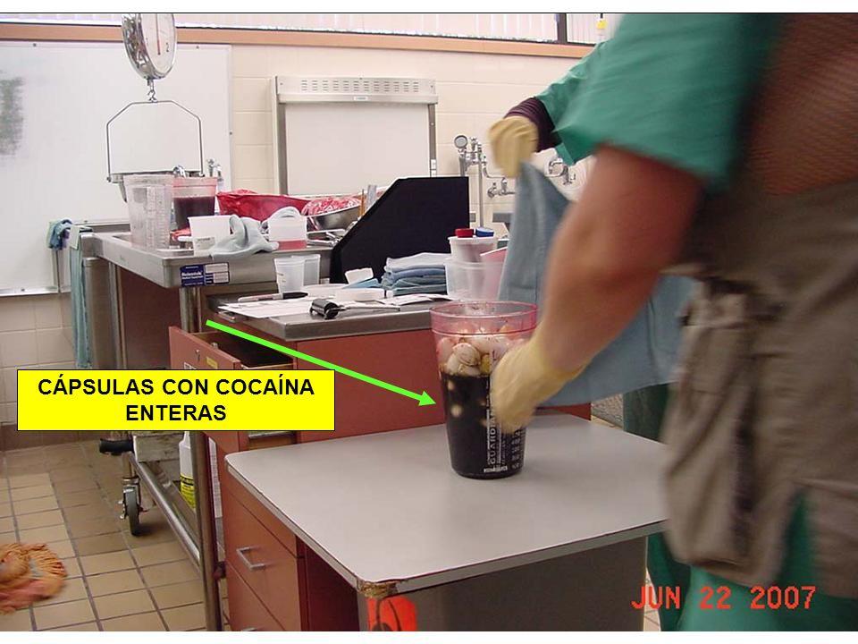 CÁPSULAS CON COCAÍNA ENTERAS