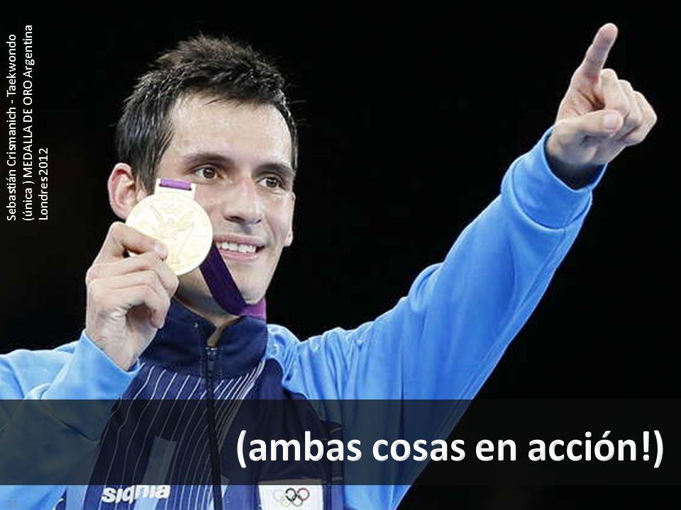 21 Sebastián Crismanich - Taekwondo (única ) MEDALLA DE ORO Argentina Londres 2012