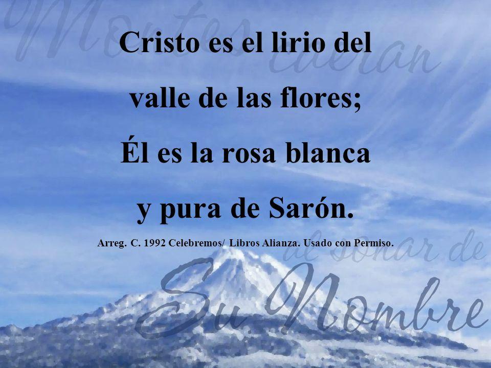 Cristo es el lirio del valle de las flores; Él es la rosa blanca y pura de Sarón. Arreg. C. 1992 Celebremos/ Libros Alianza. Usado con Permiso.
