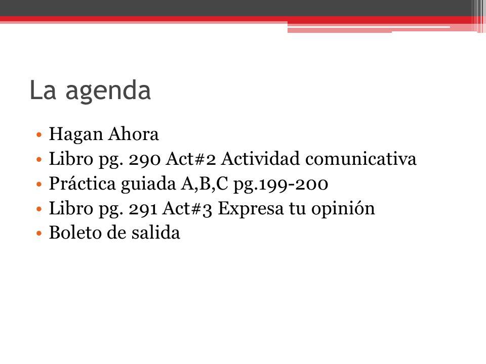 La agenda Hagan Ahora Libro pg.