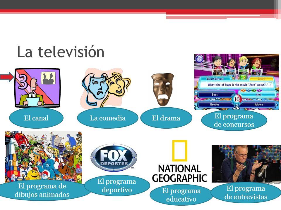 La televisión El canalLa comediaEl drama El programa de concursos El programa de dibujos animados El programa deportivo El programa educativo El programa de entrevistas