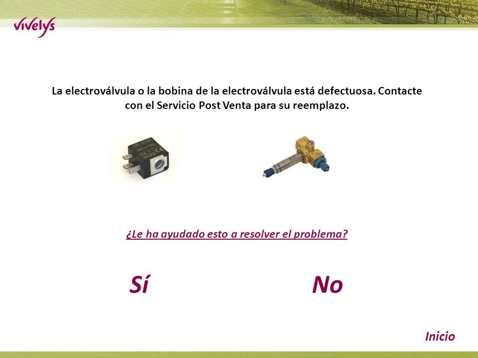 La electroválvula o la bobina de la electroválvula está defectuosa.