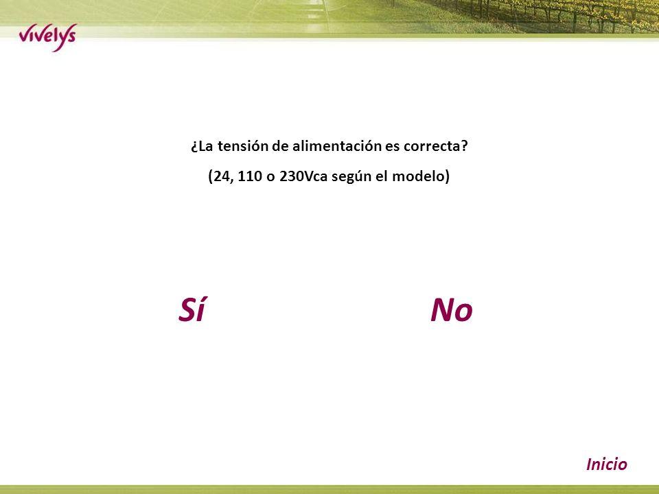 SíNo Inicio ¿La tensión de alimentación es correcta (24, 110 o 230Vca según el modelo)