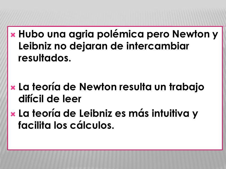 Hubo una agria polémica pero Newton y Leibniz no dejaran de intercambiar resultados. La teoría de Newton resulta un trabajo difícil de leer La teoría