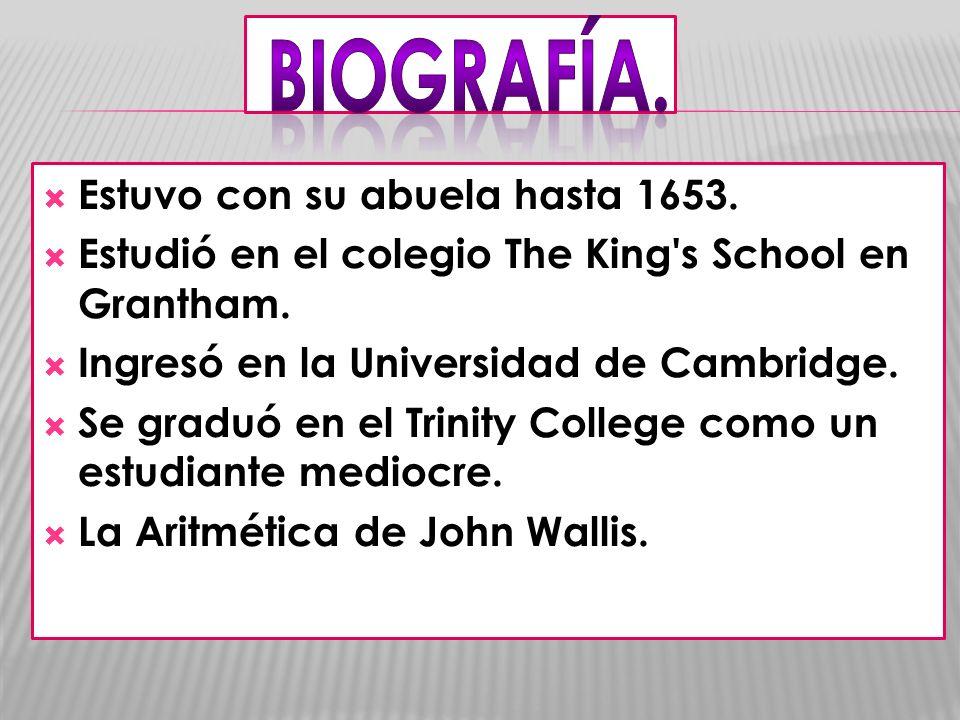 Estuvo con su abuela hasta 1653. Estudió en el colegio The King's School en Grantham. Ingresó en la Universidad de Cambridge. Se graduó en el Trinity