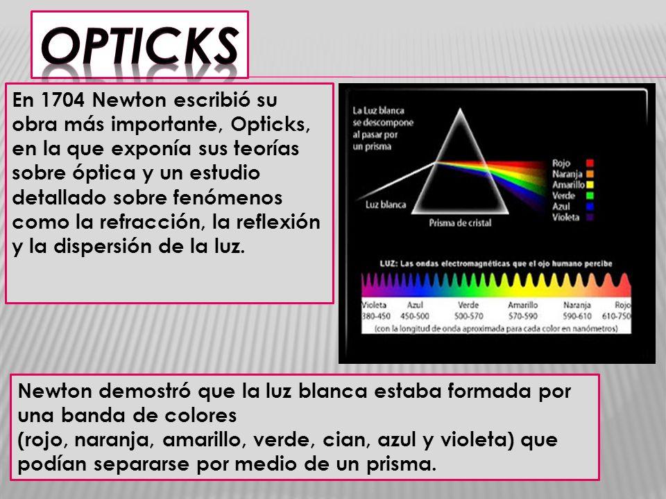 En 1704 Newton escribió su obra más importante, Opticks, en la que exponía sus teorías sobre óptica y un estudio detallado sobre fenómenos como la ref