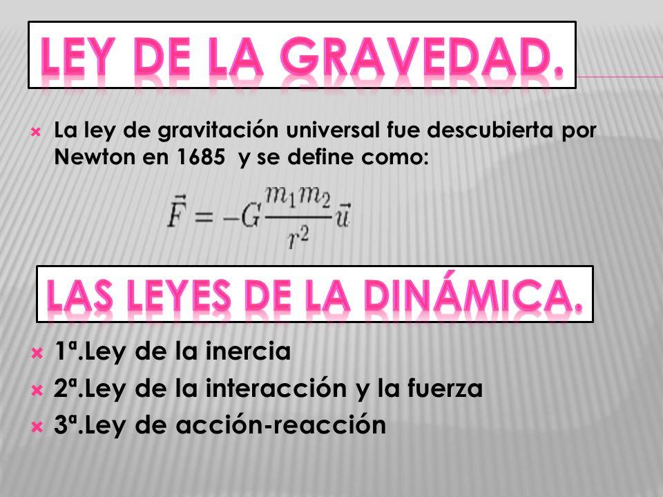 La ley de gravitación universal fue descubierta por Newton en 1685 y se define como: 1ª.Ley de la inercia 2ª.Ley de la interacción y la fuerza 3ª.Ley