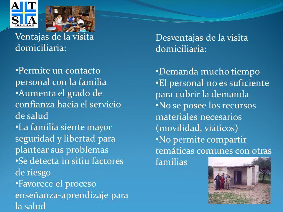 Ventajas de la visita domiciliaria: Permite un contacto personal con la familia Aumenta el grado de confianza hacia el servicio de salud La familia si