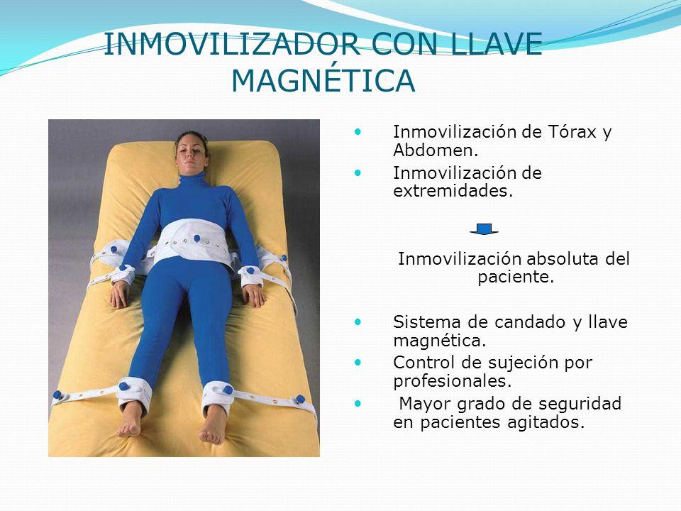 Inmovilización de Tórax y Abdomen. Inmovilización de extremidades. Inmovilización absoluta del paciente. Sistema de candado y llave magnética. Control