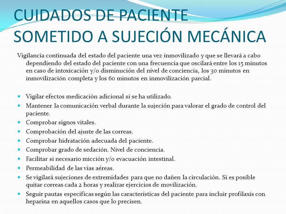 CUIDADOS DE PACIENTE SOMETIDO A SUJECIÓN MECÁNICA Vigilancia continuada del estado del paciente una vez inmovilizado y que se llevará a cabo dependien