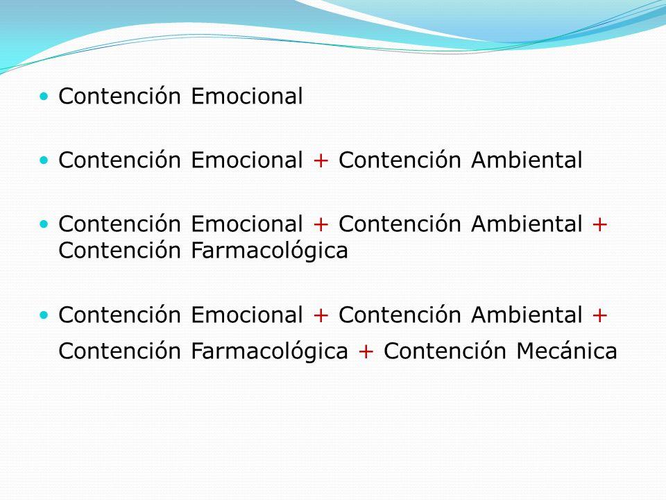 Contención Emocional Contención Emocional + Contención Ambiental Contención Emocional + Contención Ambiental + Contención Farmacológica Contención Emo