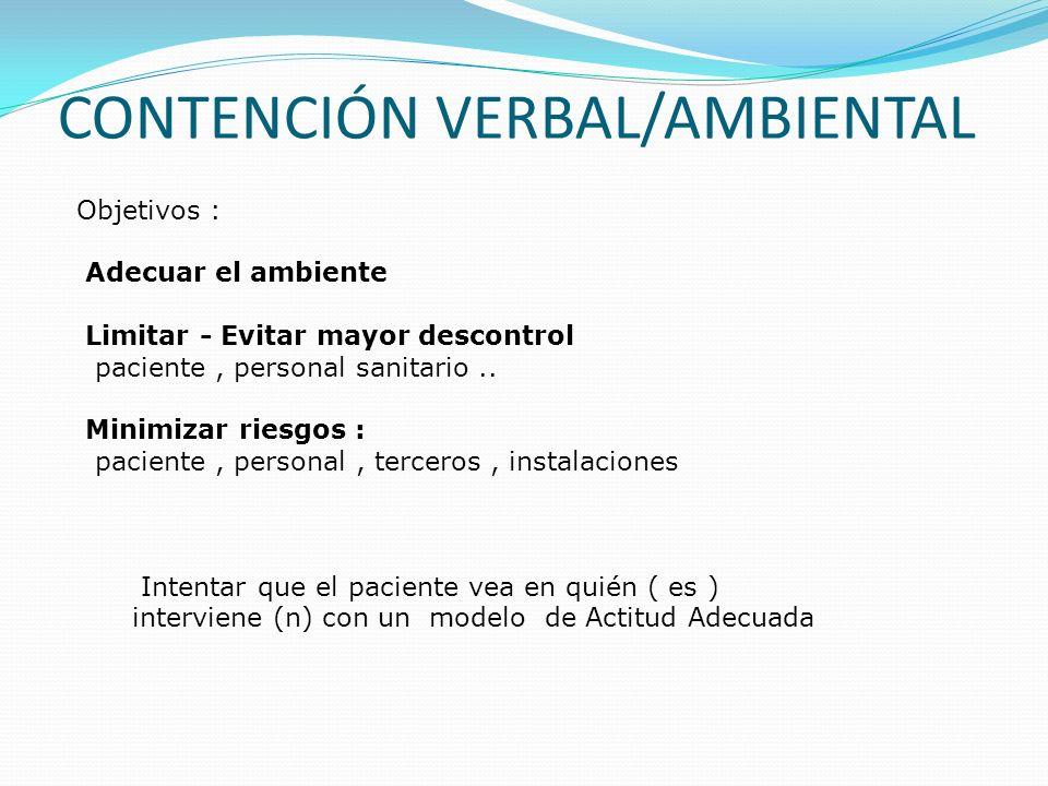 Objetivos : Adecuar el ambiente Limitar - Evitar mayor descontrol paciente, personal sanitario.. Minimizar riesgos : paciente, personal, terceros, ins
