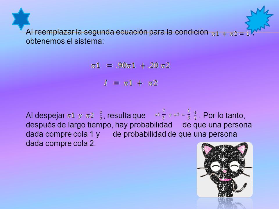 Al reemplazar la segunda ecuación para la condición, obtenemos el sistema: Al despejar, resulta que.