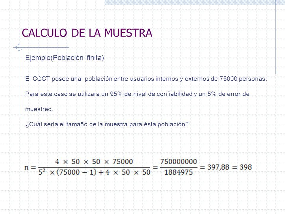 CALCULO DE LA MUESTRA Ejemplo(Población finita) El CCCT posee una población entre usuarios internos y externos de 75000 personas. Para este caso se ut