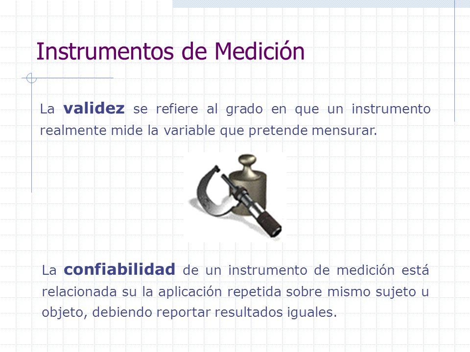 Instrumentos de Medición La confiabilidad de un instrumento de medición está relacionada su la aplicación repetida sobre mismo sujeto u objeto, debien