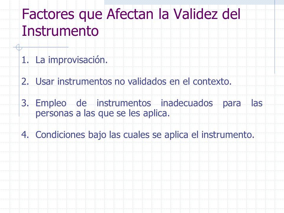 Factores que Afectan la Validez del Instrumento 1.La improvisación. 2.Usar instrumentos no validados en el contexto. 3.Empleo de instrumentos inadecua