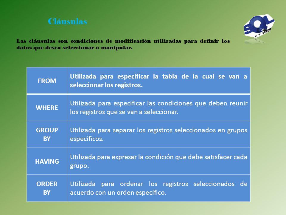 Comandos DML SELECT Utilizado para consultar registros de la base de datos que satisfagan un criterio determinado INSERT Utilizado para cargar lotes d