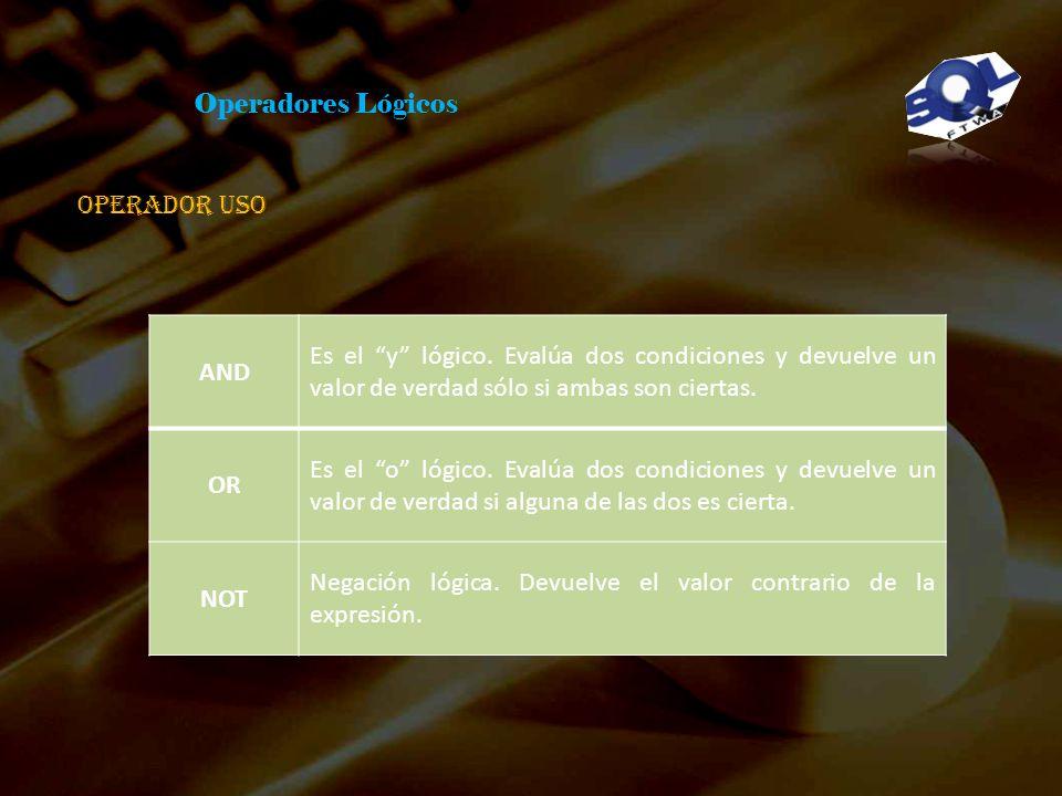 Cláusulas Las cláusulas son condiciones de modificación utilizadas para definir los datos que desea seleccionar o manipular. FROM Utilizada para espec