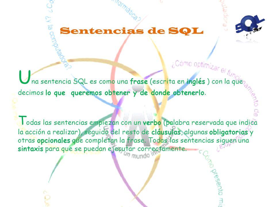 Otras Características Es un lenguaje unificado Es un lenguaje no procedimental. El usuario especifica Qué quiere, no Cómo ni Dónde conseguirlo. Es rel