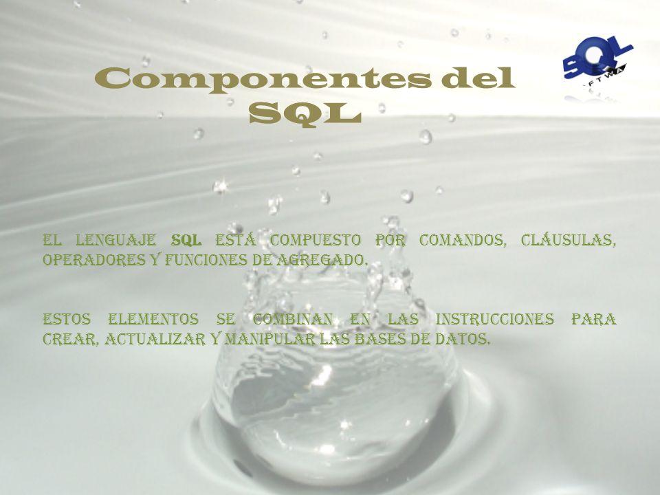 A continuación se presenta una tabla con las sentencias SQL más comunes, clasificadas según el lenguaje al que pertenecen: Sentencia DDL Objetivo Alte
