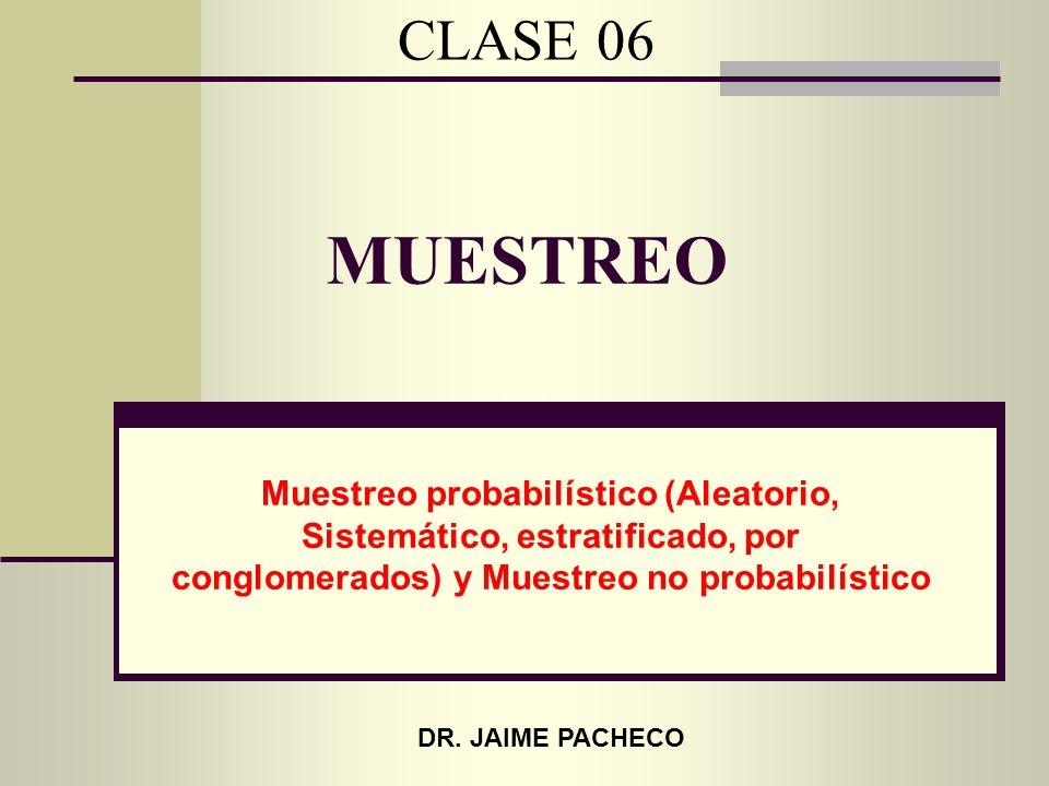 MUESTREO Muestreo probabilístico (Aleatorio, Sistemático, estratificado, por conglomerados) y Muestreo no probabilístico CLASE 06 DR. JAIME PACHECO