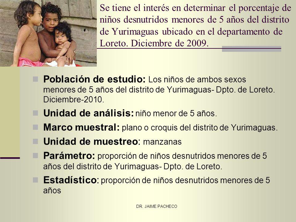 DR. JAIME PACHECO Se tiene el interés en determinar el porcentaje de niños desnutridos menores de 5 años del distrito de Yurimaguas ubicado en el depa