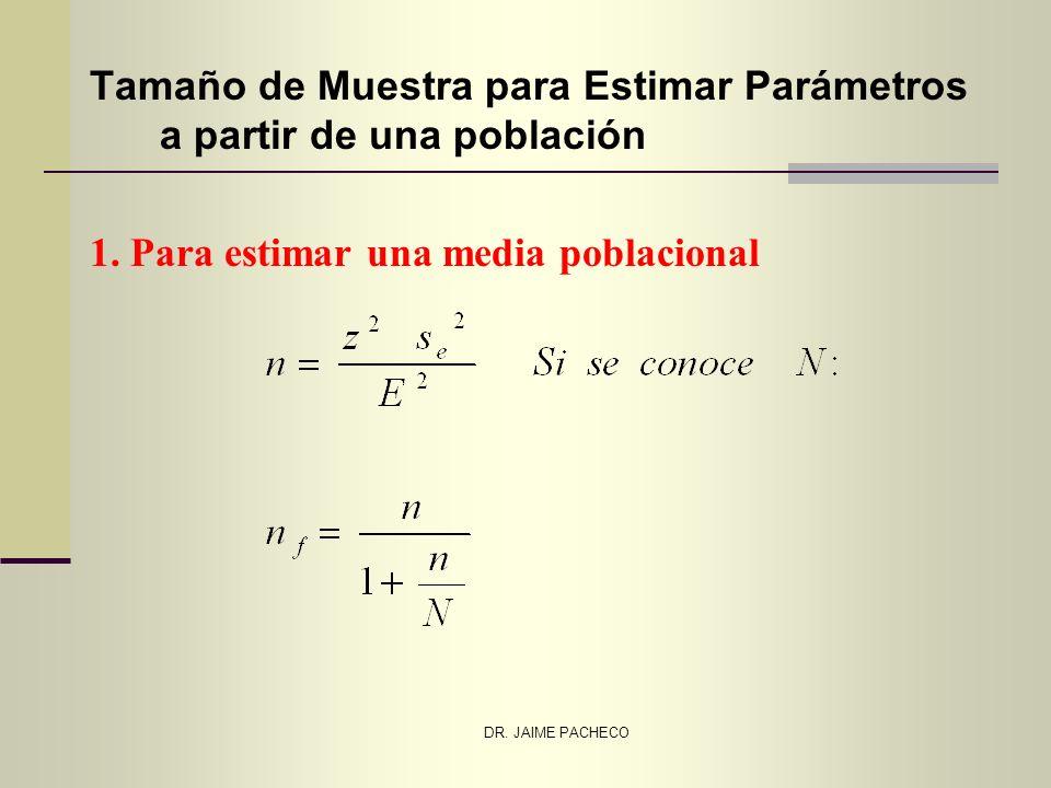 DR. JAIME PACHECO Tamaño de Muestra para Estimar Parámetros a partir de una población 1. Para estimar una media poblacional
