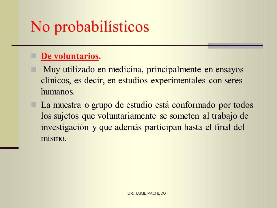 No probabilísticos De voluntarios. Muy utilizado en medicina, principalmente en ensayos clínicos, es decir, en estudios experimentales con seres human