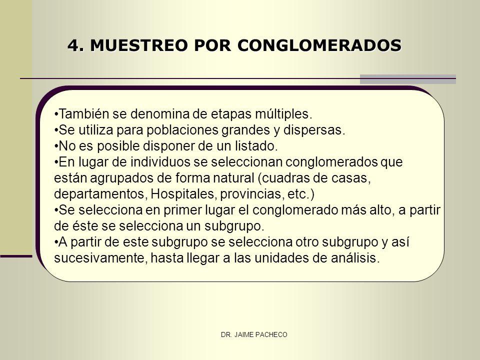 DR. JAIME PACHECO 4. MUESTREO POR CONGLOMERADOS También se denomina de etapas múltiples. Se utiliza para poblaciones grandes y dispersas. No es posibl