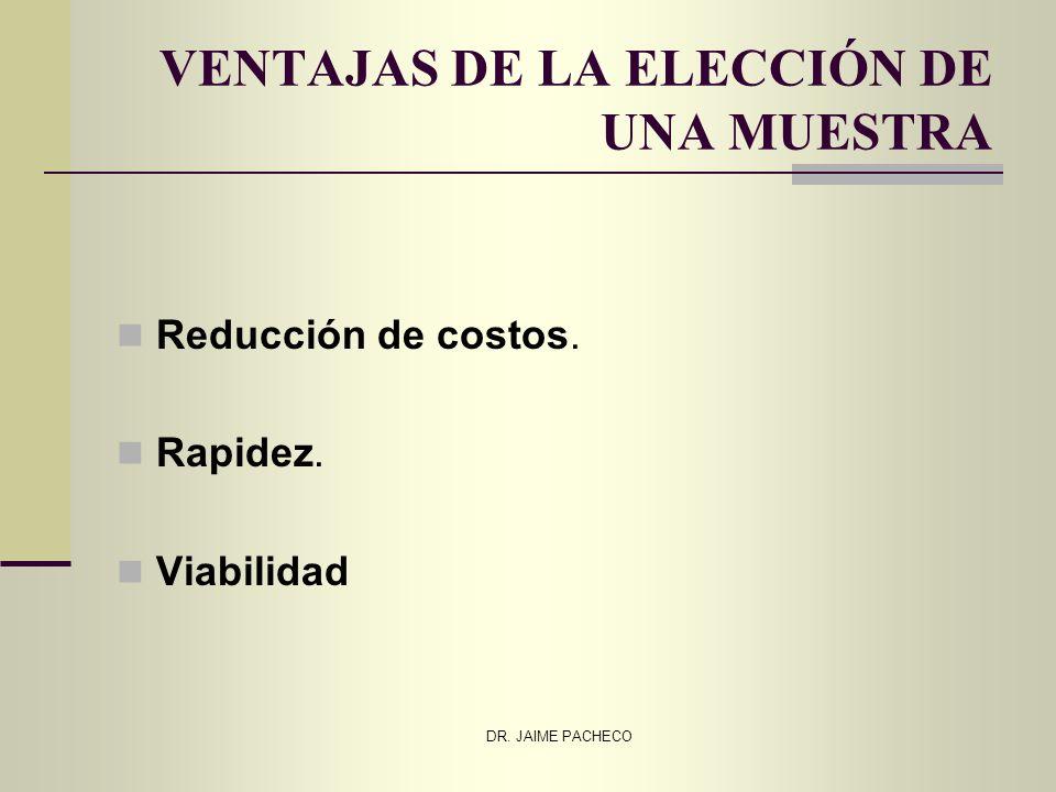 DR. JAIME PACHECO VENTAJAS DE LA ELECCIÓN DE UNA MUESTRA Reducción de costos. Rapidez. Viabilidad