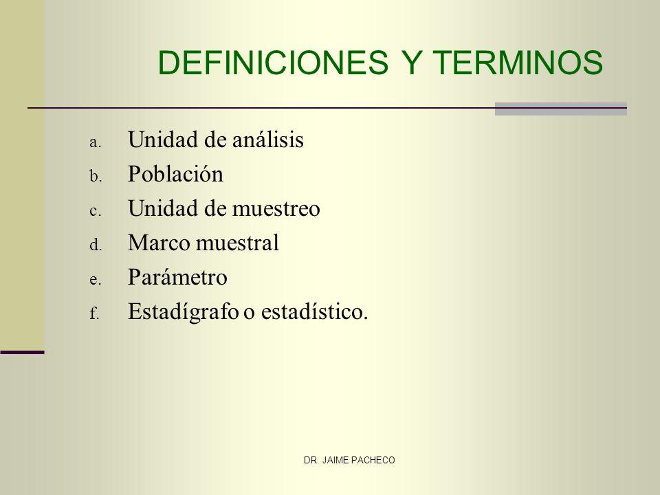 DR. JAIME PACHECO DEFINICIONES Y TERMINOS a. Unidad de análisis b. Población c. Unidad de muestreo d. Marco muestral e. Parámetro f. Estadígrafo o est
