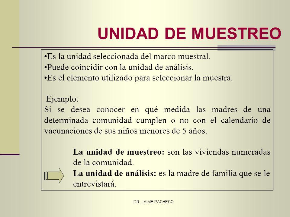 DR. JAIME PACHECO UNIDAD DE MUESTREO Es la unidad seleccionada del marco muestral. Puede coincidir con la unidad de análisis. Es el elemento utilizado