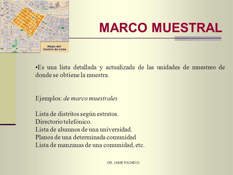 DR. JAIME PACHECO MARCO MUESTRAL Es una lista detallada y actualizada de las unidades de muestreo de donde se obtiene la muestra. Ejemplos: de marco m
