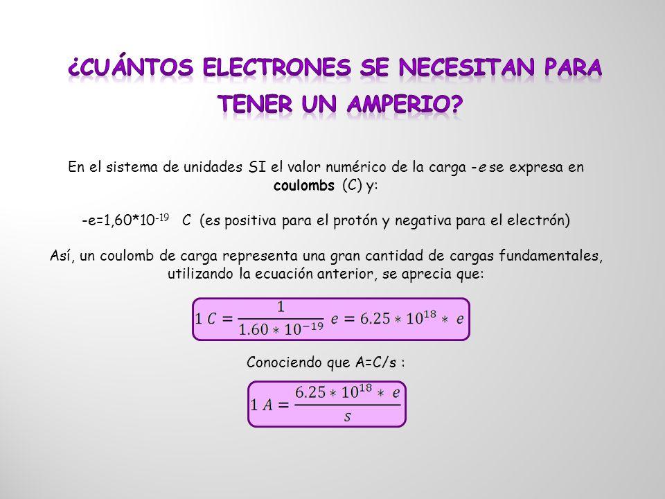 En el sistema de unidades SI el valor numérico de la carga -e se expresa en coulombs (C) y: -e=1,60*10 -19 C (es positiva para el protón y negativa pa