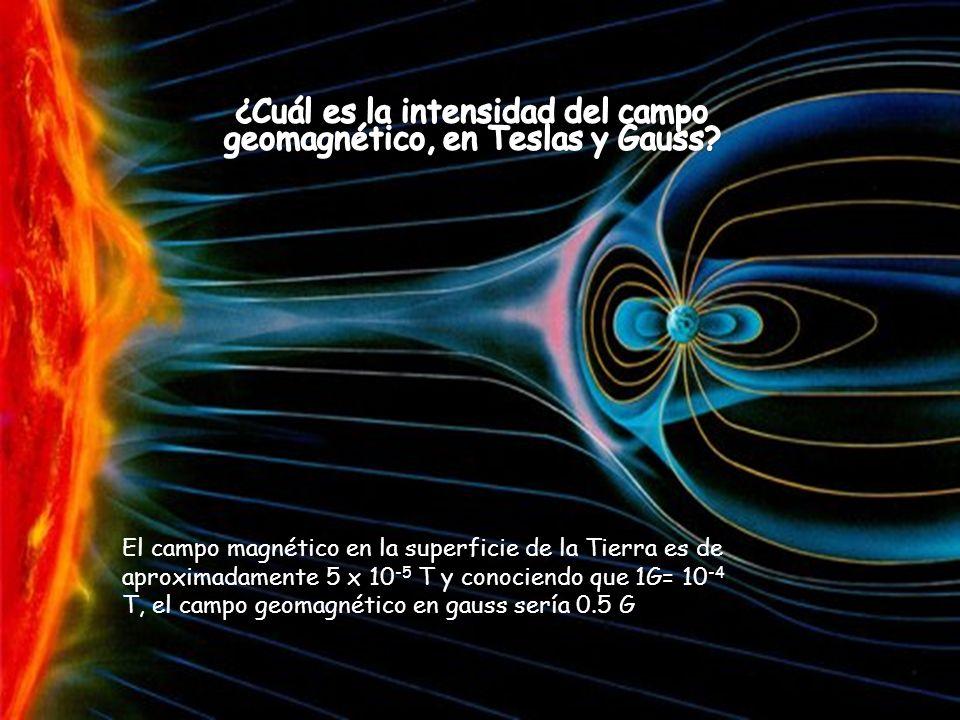 El campo magnético en la superficie de la Tierra es de aproximadamente 5 x 10 -5 T y conociendo que 1G= 10 -4 T, el campo geomagnético en gauss sería