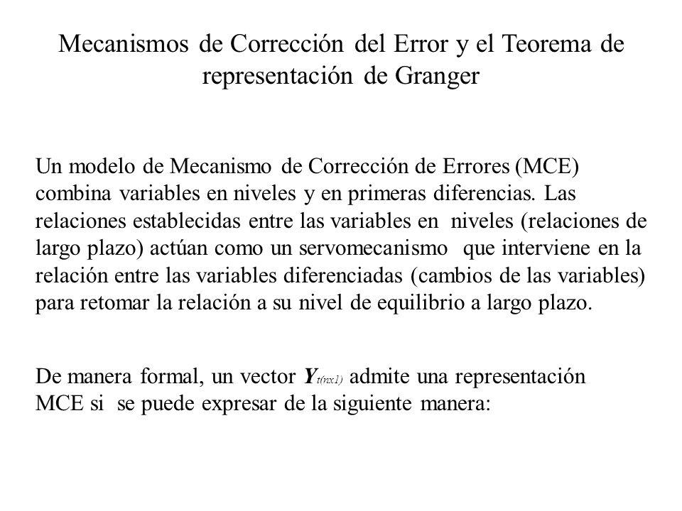 Mecanismos de Corrección del Error y el Teorema de representación de Granger Un modelo de Mecanismo de Corrección de Errores (MCE) combina variables e