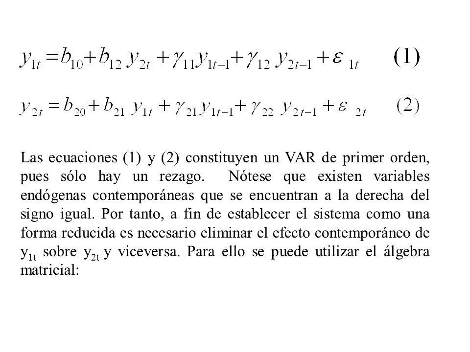 Las ecuaciones (1) y (2) constituyen un VAR de primer orden, pues sólo hay un rezago. Nótese que existen variables endógenas contemporáneas que se enc