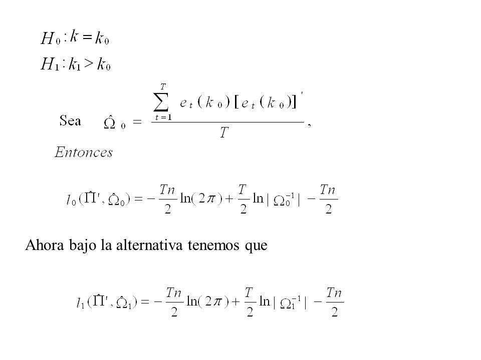 Retomando el ejemplo del VAR(1) con dos variables y concentrándonos en el error de pronóstico a n etapas de la variable y 1t, tenemos: por lo tanto, la varianza del error de pronóstico de y 1t a n etapas es: