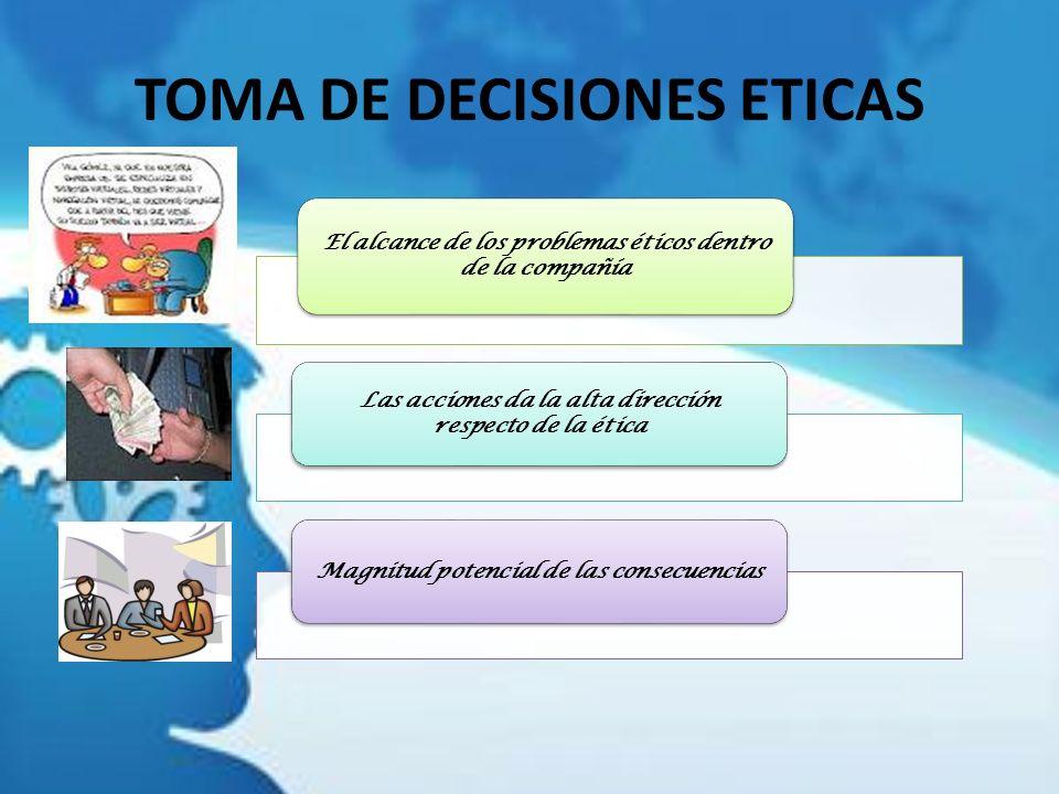 TOMA DE DECISIONES ETICAS El alcance de los problemas éticos dentro de la compañía Las acciones da la alta dirección respecto de la ética Magnitud pot