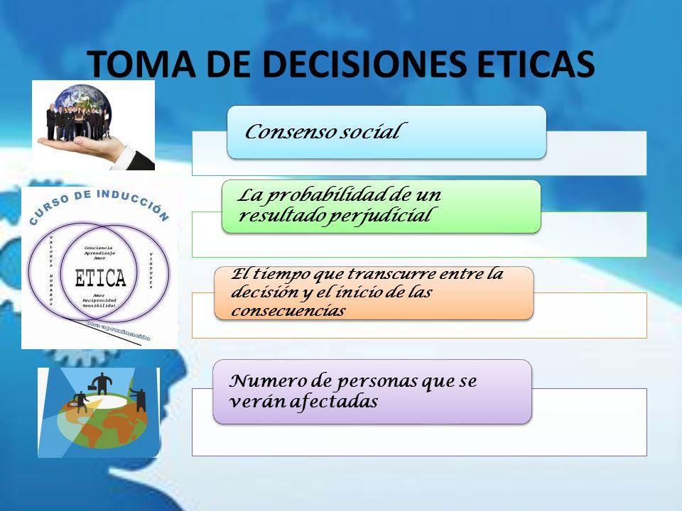 TOMA DE DECISIONES ETICAS Consenso social La probabilidad de un resultado perjudicial El tiempo que transcurre entre la decisión y el inicio de las co