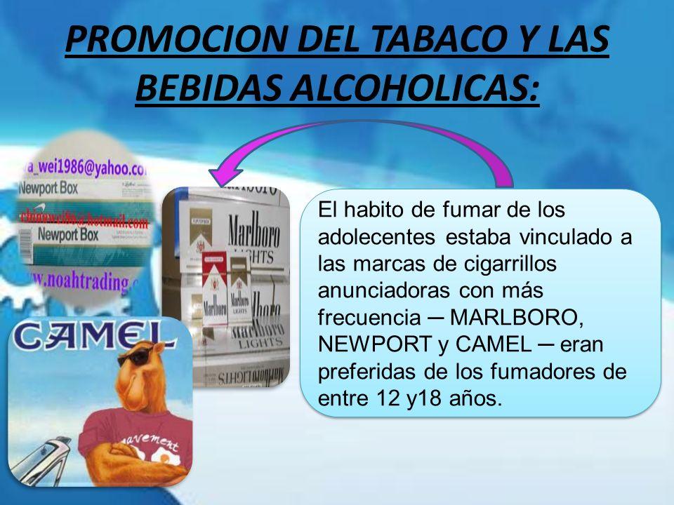 PROMOCION DEL TABACO Y LAS BEBIDAS ALCOHOLICAS: El habito de fumar de los adolecentes estaba vinculado a las marcas de cigarrillos anunciadoras con má