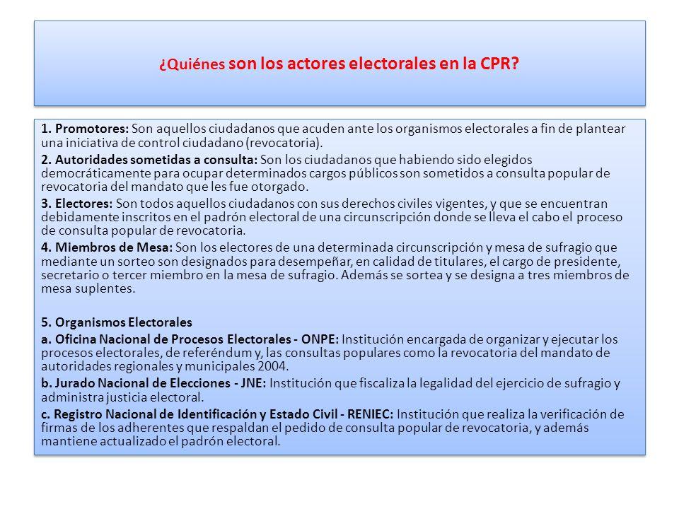 ¿Quiénes son los actores electorales en la CPR.1.
