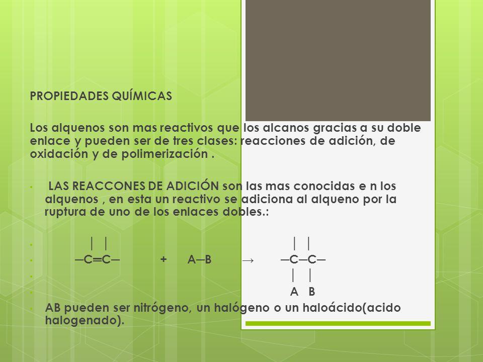 EN LAS REACCIONES DE OXIDACIÓN los alquenos como todos los hidrocarburos se convierten dióxido de carbono y agua cuando se encienden en presencia de oxigeno: C 2 H 4 + 3 O 2 2CO 2 + 2H 2 O Eteno Algunos agentes oxidantes como el permanganato de potasio diluido y frio, oxidan alquenos con formación de compuestos conocidos como dioles o glicoles.