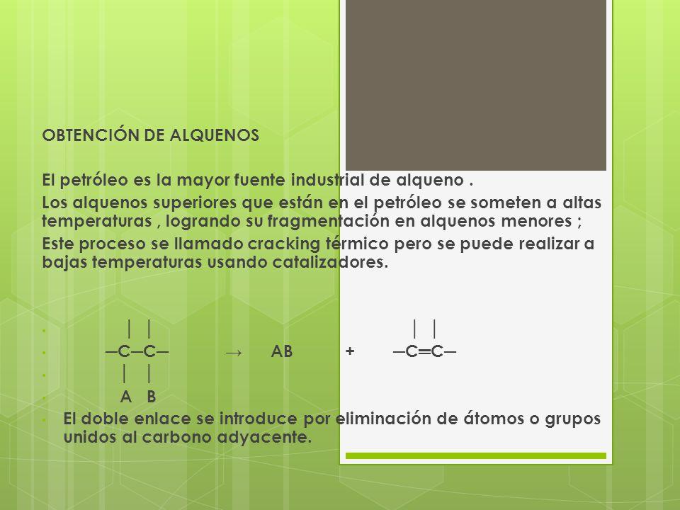 Las reacciones de eliminación mas usadas son la deshidratación de alcoholes donde se elimina una molécula de agua mediante la acción de deshidratantes como el acido sulfúrico concentrado o la alúmina.