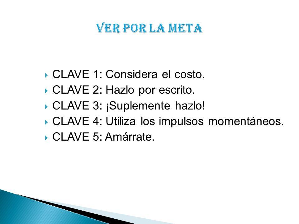 CLAVE 1: Considera el costo. CLAVE 2: Hazlo por escrito. CLAVE 3: ¡Suplemente hazlo! CLAVE 4: Utiliza los impulsos momentáneos. CLAVE 5: Amárrate.