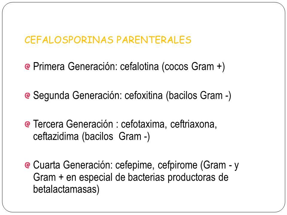 CEFALOSPORINAS PARENTERALES Primera Generación: cefalotina (cocos Gram +) Segunda Generación: cefoxitina (bacilos Gram -) Tercera Generación : cefotax