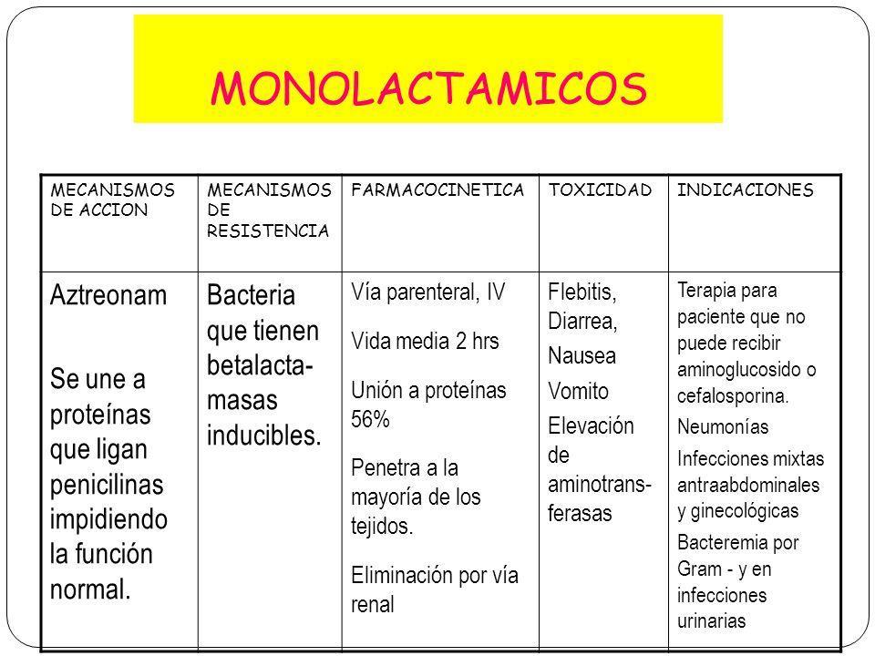 MONOLACTAMICOS MECANISMOS DE ACCION MECANISMOS DE RESISTENCIA FARMACOCINETICATOXICIDADINDICACIONES Aztreonam Se une a proteínas que ligan penicilinas